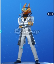 Fortnite Battle Royale DJ Yonder Formal White Style Cosplay Costume