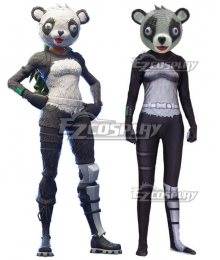 Fortnite Battle Royale P.A.N.D.A. Team Leader Spandex Jumpsuit Halloween Cosplay Costume