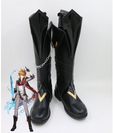 Genshin Impact Childe Tartaglia Black Shoes Cosplay Boots