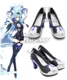Genshin Impact Eula Black Shoes Cosplay Boots