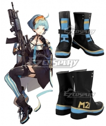 Girls' Frontline Zas M21 Zastava M21 Black Blue Shoes Cosplay Boots