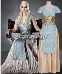 Game Of Thrones Daenerys Targaryen Light Blue And Grey Dress Cosplay Costume