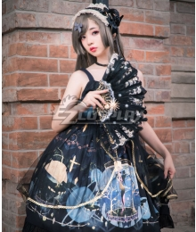 Gothic Lolita JSK Polar Night Aria Black Suspender Dress Jumper Skirt Lolita Dress
