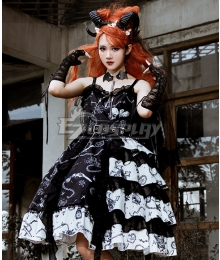 Gothic Lolita JSK the Vampire Diaries Black White Suspender Dress Helloween Jumper Skirt Lolita Dress