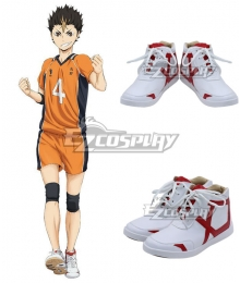 Haikyuu!! Yū Nishinoya Yuu Nishinoya White Red Cosplay Shoes