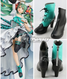Hatsune Miku 10 Year Anniversary Blue Green  Cosplay Shoes
