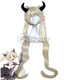 How NOT to Summon a Demon Lord Isekai Maou to Shoukan Shoujo Dorei Majutsu Klem White Golden Cosplay Wig - Wig + Ears + Horn