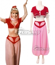 I Dream of Jeannie Jeannie Red Dress Halloween Cosplay Costume