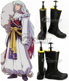 Inuyasha Sesshomaru Black Shoes Cosplay Boots