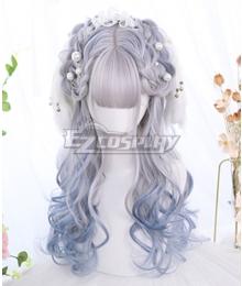 Japan Harajuku Lolita Series Blue Bird White Blue Cosplay Wig