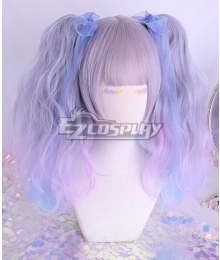 Japan Harajuku Lolita Series Gradient Grey Blue Cosplay Wig