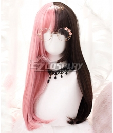 Japan Harajuku Lolita Series Halloween Pink Brown Long Cosplay Wig-Only Wig