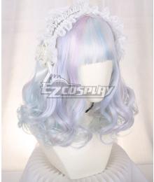Japan Harajuku Lolita Seriest Diamond Color Light Blue Cosplay Wig - Only Wig