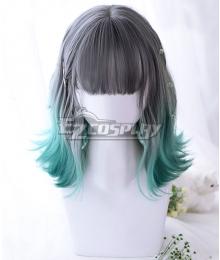 Japan Harajuku Lolita Seriest Grey Green Gradient Color Cosplay Wig - Only Wig