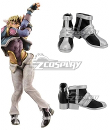 JoJo's Bizarre Adventure Caesar Anthonio Zeppeli Black Silver Cosplay Shoes