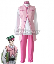 Jojo'S Bizarre Adventure : Unbreakble Diamond Rohan Kishibe Pink Cosplay Costume
