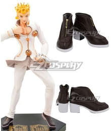 JoJo's Bizarre Adventure: Vento Aureo Golden Wind Giorno Giovanna Deep Brown Cosplay Shoes
