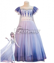 Kids Child Size Disney Frozen 2 Elsa Purple Dress Cosplay Costume
