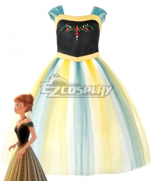 Kids Child Size Disney Frozen Anna Cosplay Costume
