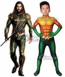 Kids DC Movie Aquaman Arthur Curry Zentai Jumpsuit Cosplay Costume