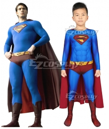 Kids DC Superman Returns Superman Clark Kent Zentai Jumpsuit Cosplay Costume