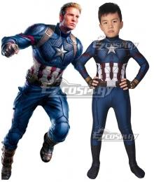 Kids Marvel Avengers 4: Endgame Steven Rogers Captain America Zentai Jumpsuit Cosplay Costume