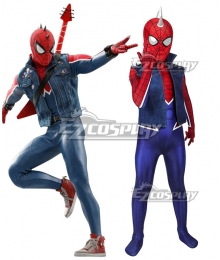 Kids Marvel PS4 Spider-Man Spiderman Spider-Punk Suit Zentai Jumpsuit Cosplay Costume