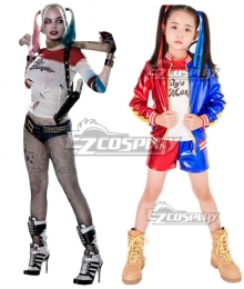 Kids Size DC Suicide Squad Harley Quinn Cosplay Costume