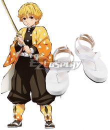 Demon Slayer: Kimetsu No Yaiba Agatsuma Zenitsu White New Edition Cosplay Shoes