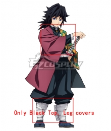 Demon Slayer: Kimetsu No Yaiba Giyuu Tomioka Cosplay Costume - Only Black Top, Leg covers