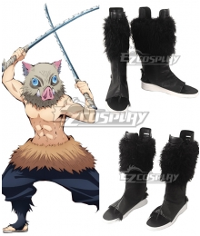 Demon Slayer: Kimetsu No Yaiba Inosuke Hashibira Black Shoes Cosplay Boots