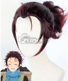 Demon Slayer: Kimetsu no Yaiba Kamado Tanjirou Long Red Black Cosplay Wig