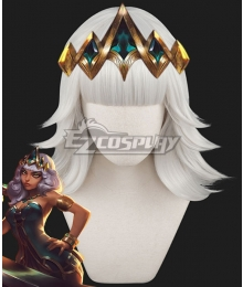 League of Legends Empress of the Elements Qiyana Wihte Cosplay Wig - No Headwear