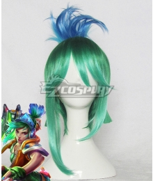 League of Legends LOL Arcade Riven the Exile Green Blue Cosplay Wig