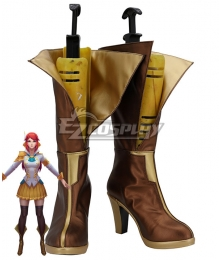 League of Legends LOL Battle Academia Lux Prestige Edition Skin  Golden Brown Shoes Cosplay Boots