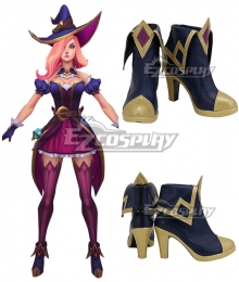 League of Legends LOL Bewitching Miss Fortune Blue Golden Cosplay Shoes