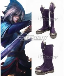 League Of Legends LOL Enduring Sword Talon Purple Shoes Cosplay Boots