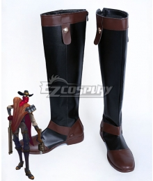 League of Legends LOL High Noon Jhin The Virtuoso Black Shoes Cosplay Boots