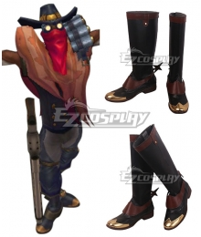 League Of Legends LOL High Noon Khada Jhin The Virtuoso Black Brown Shoes Cosplay Boots