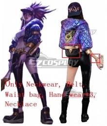League Of Legends LOL KDA K/DA Akali New Edition Cosplay Costume - Only Neckwear, Belt, Waist bag, Hand wear*3, Necklace
