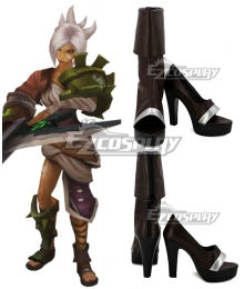League Of Legends LOL Riven Runic Blade Symbols Brown Shoes Cosplay Boots