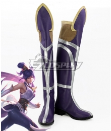 League Of Legends LOL Soaring Sword Fiora Skin Purple Shoes Cosplay Boots