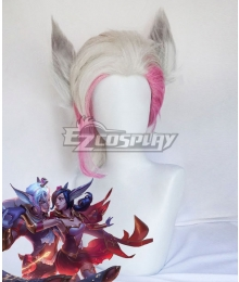 League of Legends LOL The Charmer Sweetheart Rakan White Pink Cosplay Wig (Wig + Ears)