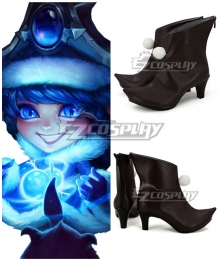 League Of Legends Winter Wonderland Lulu the Fae Sorceress Christmas Black Shoes Cosplay Boots