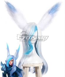League Of Legends Xayah The Rebel SSG Skin White Blue Cosplay Wig - Wig + Ears