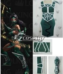 League of Legends Akali Green Cosplay Costume