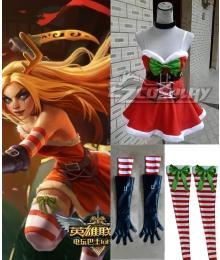 League of Legends LOL Katarina Du Couteau Christmas Girl Cosplay Costume