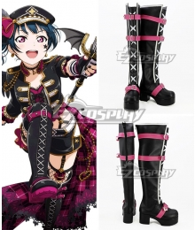 LoveLive! Sunshine!! Aqours Yoshiko Tsushima Black Pink Shoes Cosplay Boots