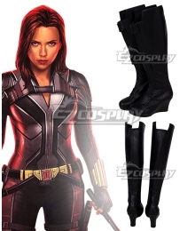 Marvel Black Widow 2021 Natasha Romanoff  Black Shoes Cosplay Boots