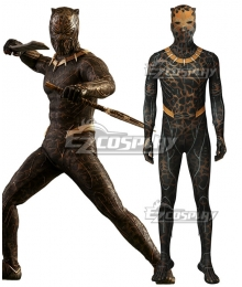 Marvel Black Panther 2018 Movie Erik Killmonger Battle Suit Zentai Jumpsuit Cosplay Costume